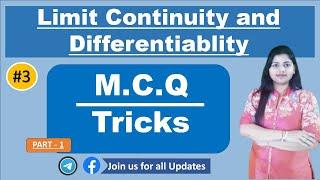 Mcq on LIMIT CONTINUITY differentiability  Tricks  FOR MSC ENTRANCE / NDA /UGC/ CSIR NET/ lt grade