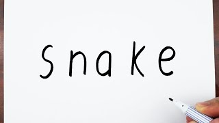 How To Draw A Snake Using The Word Snake