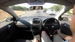 VW Polo with stainless exhaust muffler POV drive