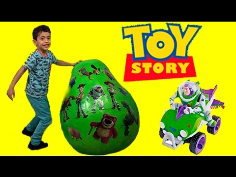 Disney Toy Story Giant Surprise Egg Unboxing Opening Buzz Lightyear Woody TOYS COME ALIVE