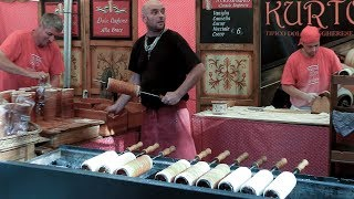 Hungary Street Food. Making Chimney Cakes