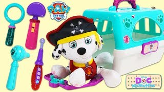 PAW PATROL Pirate Marshall Gets Sea Sick and Visits Doc McStuffins Pet Vet Toy Hospital!