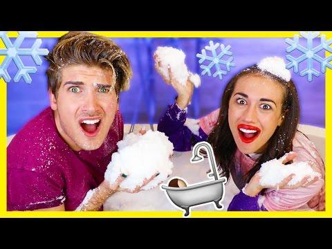 BATH FULL OF SNOW CHALLENGE! w/Miranda Sings