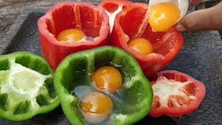 Bell Pepper Omelet / Cooking Duck Egg in Bell Pepper