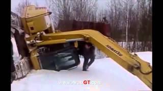 أغرب حوادث الشاحنات والدبابات والآليات الثقيلة