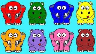 Learn Colors for Children with Hippo and Elephant Fun Educational Learning Video