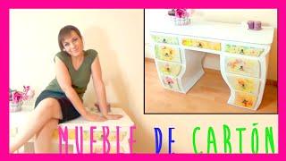 Increible mueble hecho totalmente con cartón, escritorio o tocador DIY reciclado