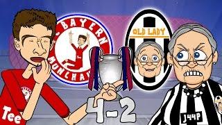 BAYERN MUNICH vs JUVENTUS 4-2 (UEFA Champions League 2016 Cartoon Parody Goals Highlights)