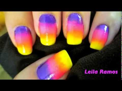 Unhas Decoradas Arco Iris Magico Degrade passo a passo Rainbow Gradient Nail Art