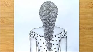 How to draw braids / Easy way to draw hair  - step by step