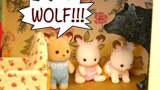 Story Time! The Wolf & 7 Kids Fairy Tale with Bunny Sylvanian Families - Kid-Friendly Family Fun!!!