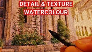 Learn How to Paint Buildings & Foliage Textures, Pencil & Wash Watercolour Technique