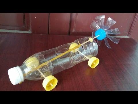 Cómo hacer un coche con botellas de plástico Banda elástica coche accionado