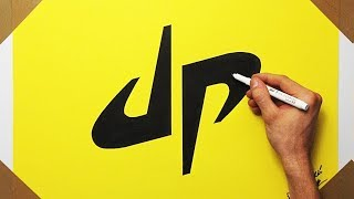 Satisfying Video - How To Draw DP Dude Perfect Logo On Yellow Paper | Fan Art