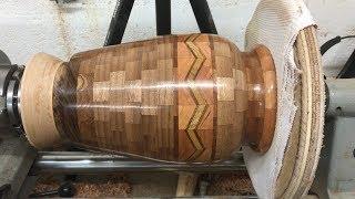 Walnut Segmented Vase With Chevron Feature Ring Part 2: Turning and Finishing The Vase