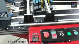 Friction Feeder + Vacuum Transport Table + HSAJet Thermal Inkjet Printer for Paper Tag