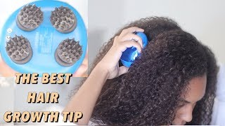 How to Grow Hair Fast using a Scalp Massager! Healthy Natural Hair Growth