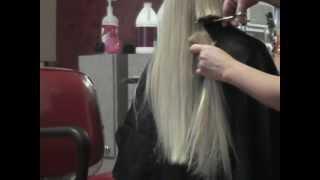 Amber getting hair cut