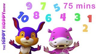 5 Little Frogs | Number Songs | 3D Nursery Rhymes for Kids and Children I 75 Mins Baby Songs