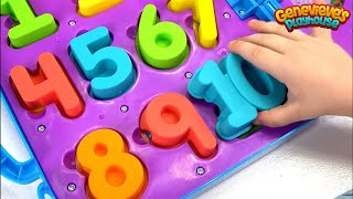 Cute Kid Genevieve Teaches 123's and ABC's with Cookie Monster & Elmo's On the Go Alphabet Numbers!