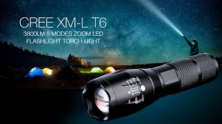 CREE XM-L T6 1-LED 3800LM 5 Modes Zoom LED Flashlight Torch Light