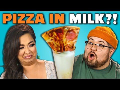 PIZZA MILK CHALLENGE Adults Vs. Food