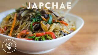 Korean JapChae Recipe (Glass Noodle 잡채) - Honeysuckle