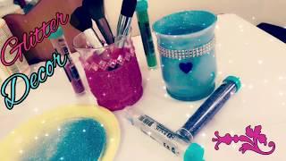 D.I.Y Glass Decoration | DIY Glitter Makeup Brush Holder