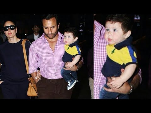 Taimur Ali Khan looks adorable with Kareena And Saif while returning from Switerzand Trip 😍|