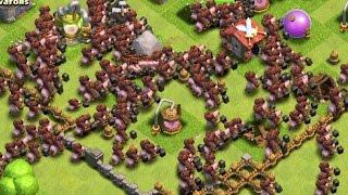 Clash of Clans - 300 Hog Rider Attacks! Max Level 5 Hogs! (Mass Gameplay)