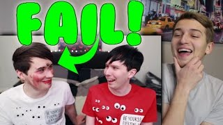 DAN AND PHIL BLINDFOLDED MAKEUP CHALLENGE Reaction