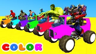 LEARN COLORS ATV /w Fun Spiderman Animation for babies w Cars Superheroes for Kids!
