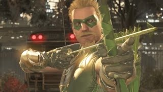 INJUSTICE 2 All Green Arrow Intros, Clashes, Banter and Supermove
