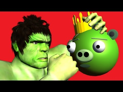 HULK vs. Angry Birds Bad Piggies ♫ 3D animated game mashup ☺ FunVideoTV Style ;