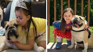 Little Girl And Dog Are Best Of Friends