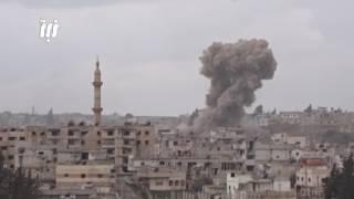 مشاهد من القصف المستمر منذ الصباح حتى ساعات الليل على أحياء درعا البلد