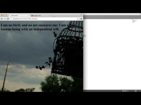 CSS Fullscreen Background Image - Adding Text: (2/2)