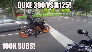 Duke 390 VS R125! Plus 100k Sub Surprise!