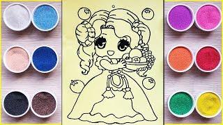 Đồ chơi TÔ MÀU TRANH CÁT CÔNG CHÚA YÊU KIỀU - Colored sand painting princess toys (Chim Xinh)