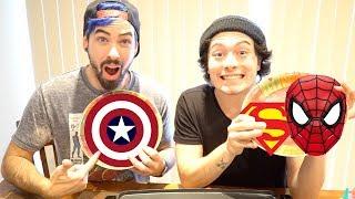 Superhero Pancake Art Challenge | Spiderman, Superman, Captain America