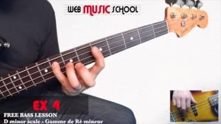 D minor scale - Gamme de Ré mineur - FREE BASS LESSON