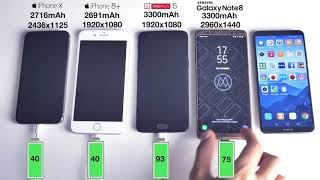 iPhone X vs Galaxy Note 8 vs iPhone 8 Plus  Battery Charging Speed Test