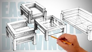 How to draw furniture - Easy Perspective Drawing 31