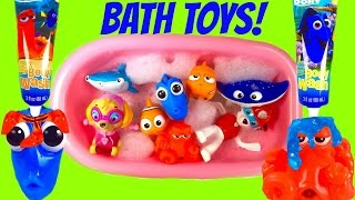 Finding Dory Bath Toys Soap and Bubbles! Bath Squirters & Paw Patrol Paddling Pups