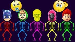 Wrong Heads Pj Masks, Masha, Ryder, Gorilla Skeleton Colors Learn Finger Family Song