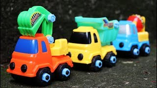 ประกอบรถของเล่นก่อสร้าง รถดั้ม รถโม่ รถแม็คโคร excavator dump truck construction