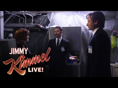 Mulder, Scully and Jimmy Kimmel in The X-Files