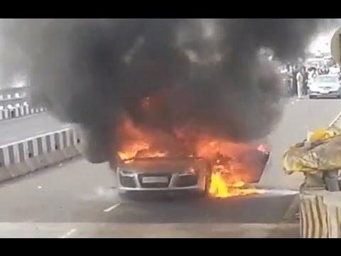 Audi R8 Accident 2013 Burning of Audi R8