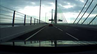 A Drive Over the New Mersey Gateway Bridge from Widnes to Runcorn