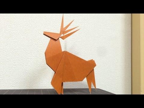 トナカイおりがみ【折り紙の折り方】Reindeer Christmas origami